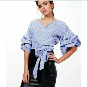 """""""Zara"""" pin-strip wrap top"""